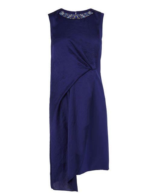 Karen Millen | Blue Draped Dress With Jewelled Neckline | Lyst