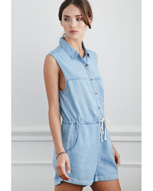 Forever 21 | Blue Buttoned Chambray Romper | Lyst