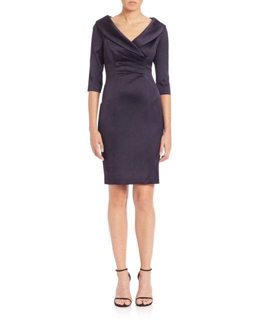 Kay Unger | Blue Portrait Collar Satin Dress | Lyst