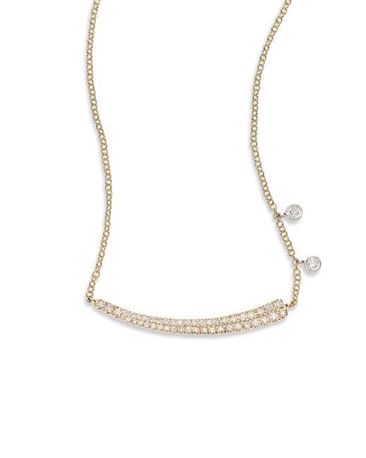 Meira T | Metallic Diamond & 14k Yellow Gold Asymmetrical Curved Bar Necklace | Lyst