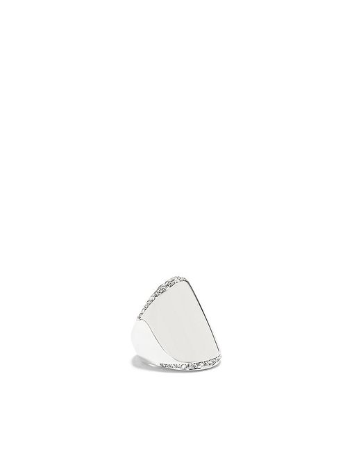 Vince Camuto | White Antique Rhodium Peeking Crystal Shield Ring | Lyst