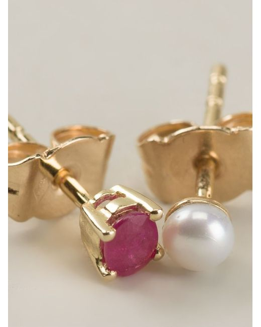 Wouters & Hendrix | Metallic Pearl And Ruby Stud Earrings | Lyst