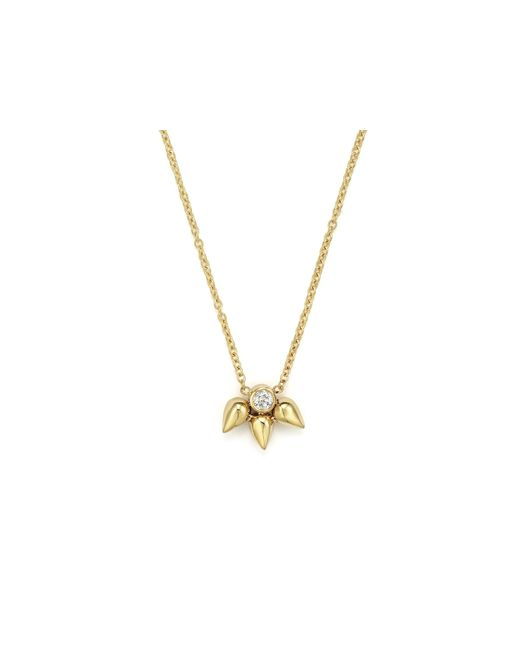 Zoe Chicco | Metallic 14k Tiny Bullet Cluster And Diamond Pendant Necklace, 16"