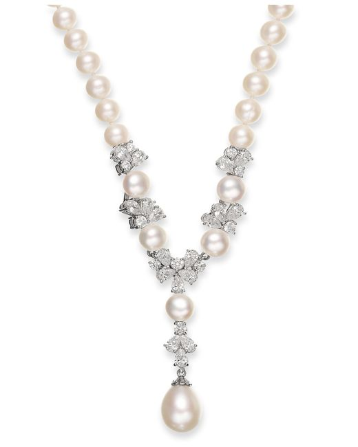 Arabella | Metallic Cultured Freshwater Pearl (7-12mm) And Swarovski Zirconia Y-shaped Necklace In Sterling Silver | Lyst