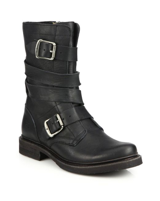 Frye | Black Veronica Buckle Leather Boots | Lyst