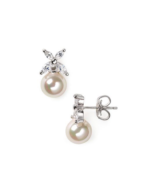 Majorica | White Flower And Simulated Pearl Stud Earrings | Lyst
