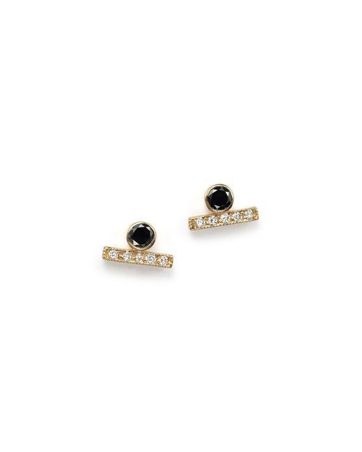 Zoe Chicco | Metallic 14k Yellow Gold And Bezel-set Black Diamond Stud Earrings With Pave Diamond Bar | Lyst