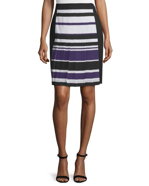 j mendel high waist striped skirt in blue lyst