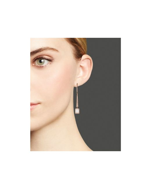 Meira T | Pink 14k Rose Gold Druzy Elongated Earrings With Diamonds | Lyst