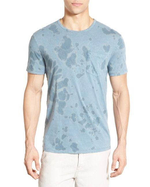 John varvatos tie dye pocket t shirt in blue for men for Ocean blue t shirt