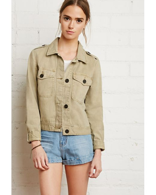 Forever 21 | Natural Boxy Utility Jacket | Lyst