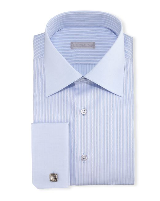Stefano ricci contrast collar french cuff striped dress for Mens dress shirts with contrasting collars and cuffs