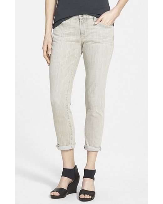 Eileen Fisher | Gray Organic Cotton Boyfriend Jeans | Lyst