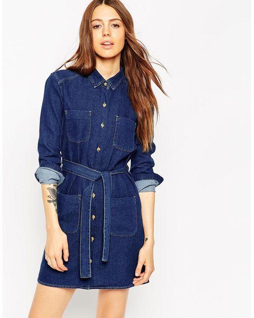 asos denim belted shirt dress in rich blue wash in blue lyst