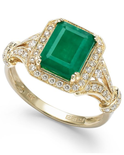 Effy Collection | Green Emerald (2-1/5 Ct. T.w.) And Diamond (1/3 Ct. T.w.) Ring In 14k Gold | Lyst
