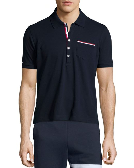 Thom browne printed short sleeve pique polo shirt in blue for Thom browne shirt sale