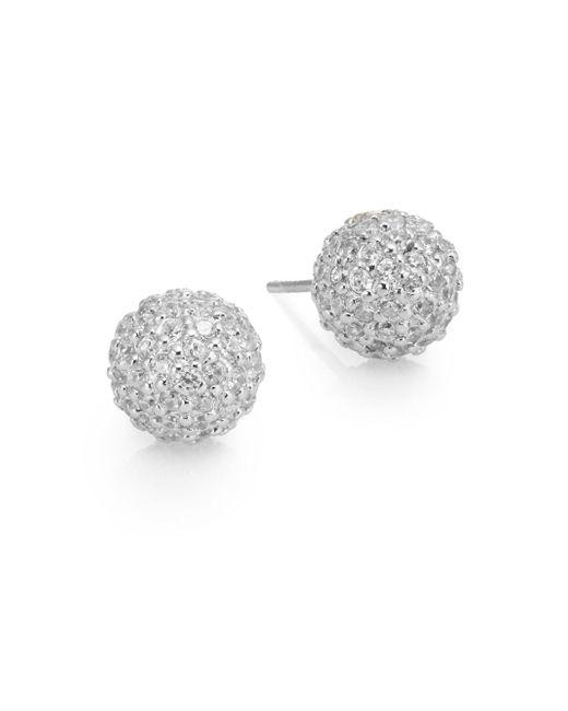Ak Anne Klein | Metallic Sterling Silver Pavé Fireball Stud Earrings | Lyst