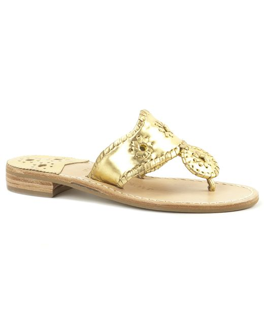 Jack Rogers | Metallic Narrow Hamptons Sandal | Lyst
