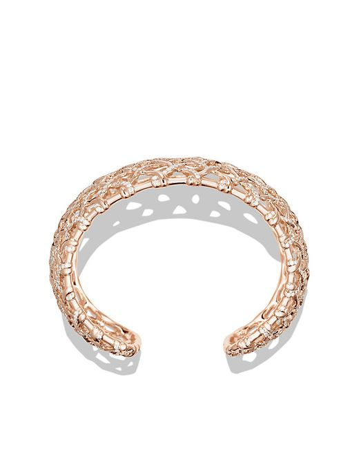 David Yurman | Metallic Venetian Quatrefoil Wide Cuff Bracelet With Diamonds In Rose Gold | Lyst