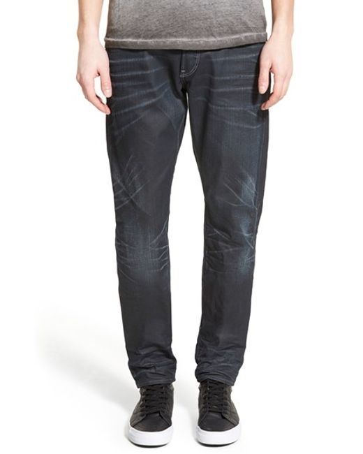g star raw 39 3301 low 39 tapered slim fit jeans in gray for. Black Bedroom Furniture Sets. Home Design Ideas