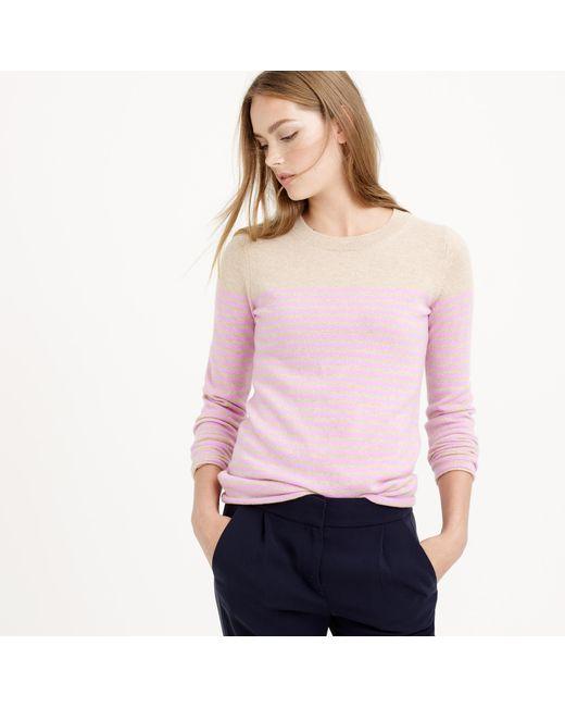 J.Crew | Pink Italian Cashmere Long-sleeve T-shirt In Stripe | Lyst