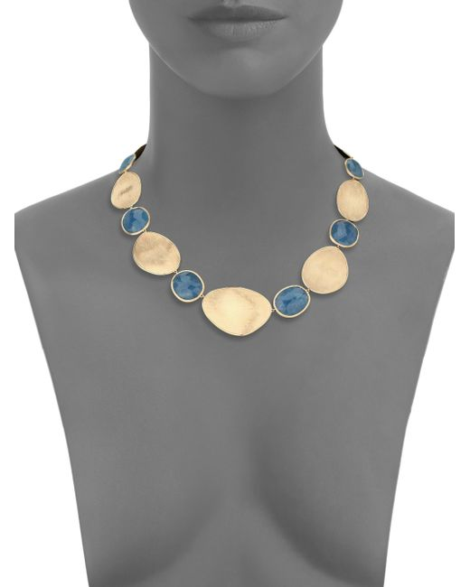 Marco Bicego | Blue Lunaria Aquamarine & 18k Yellow Gold Medium Collar Necklace | Lyst