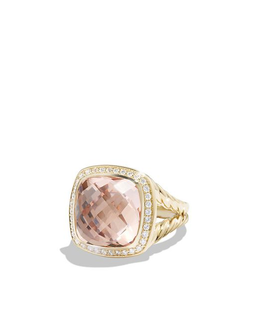 David Yurman | Green Ring With Morganite And Diamonds In 18k Gold | Lyst