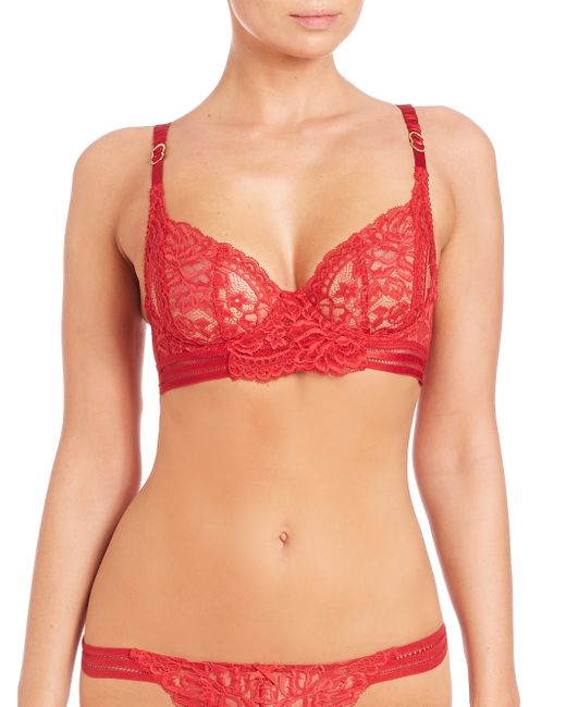 Stella McCartney | Red Isabel Floating Underwire Lace Bra | Lyst