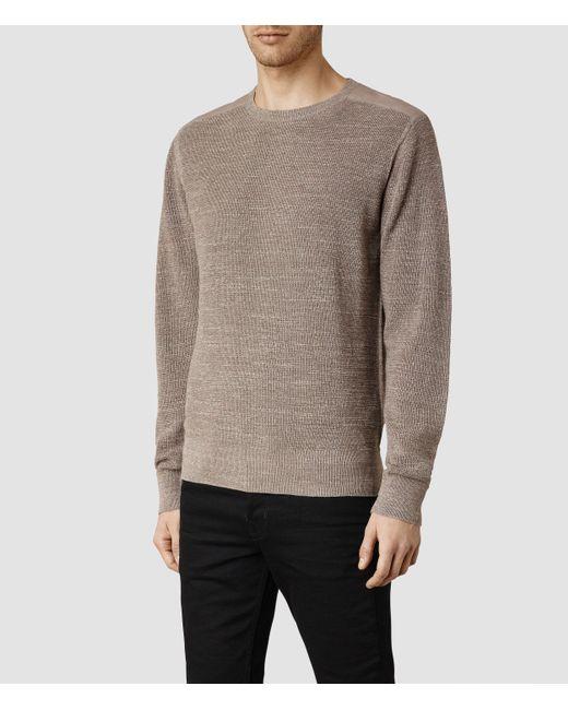 AllSaints | Brown Trias Crew Sweater Usa Usa for Men | Lyst