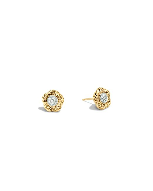 John Hardy | Metallic Classic Chain 18k Gold Diamond Pave Small Stud Earrings | Lyst