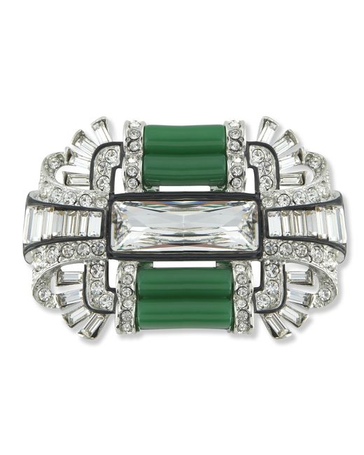 Kenneth Jay Lane | Green Jade Art Deco Brooch | Lyst