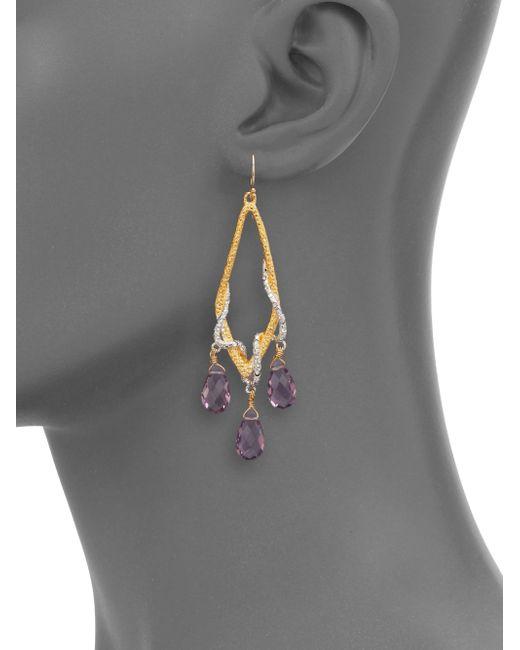Alexis Bittar | Purple Draping Pave Vine Pink Amethyst Drop Earrings | Lyst