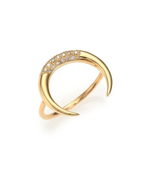 Jacquie Aiche | Metallic Diamond & 14k Yellow Gold Crescent Ring | Lyst