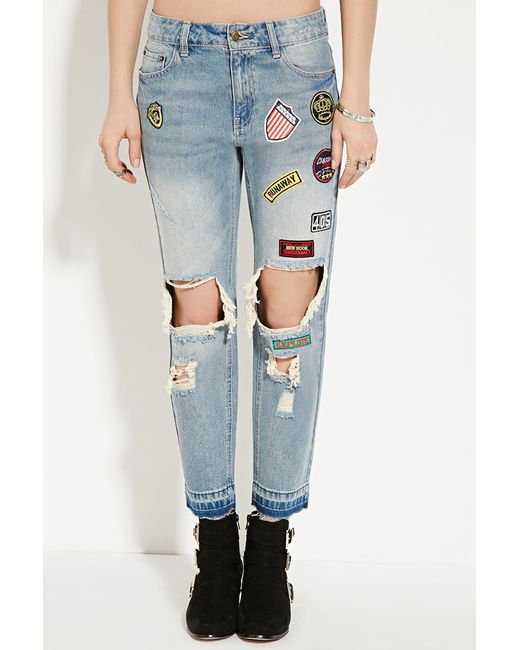 Forever 21 Patch-front Boyfriend Jeans in Blue | Lyst