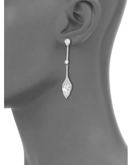 Adriana Orsini | Metallic Statement Pave Crystal Linear Drop Earrings | Lyst