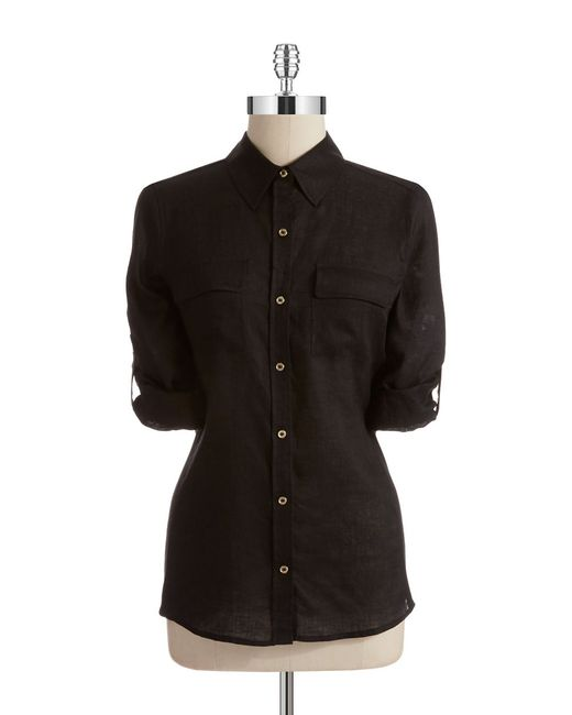 Calvin Klein | Black Linen Roll Sleeve Blouse | Lyst