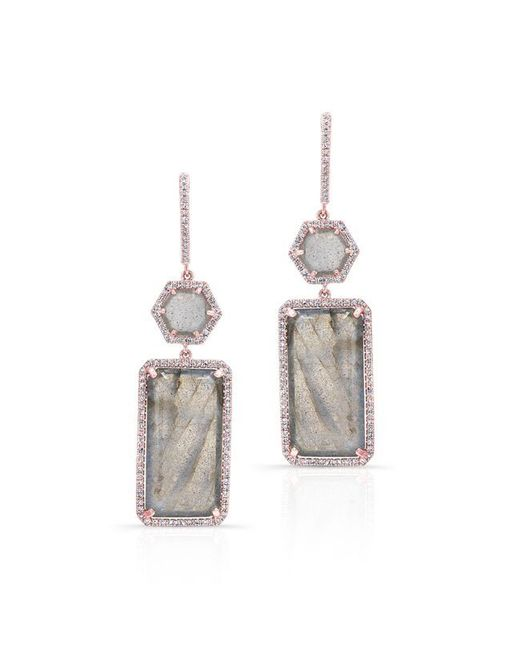 Anne Sisteron - Pink 14kt Rose Gold Labradorite Diamond Geometric Earrings - Lyst