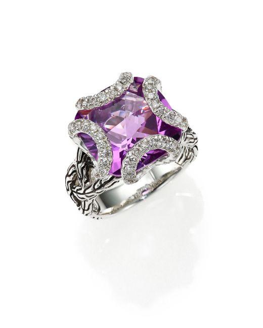 John Hardy | Purple Classic Chain Amethyst, Diamond & Sterling Silver Medium Braided Ring | Lyst