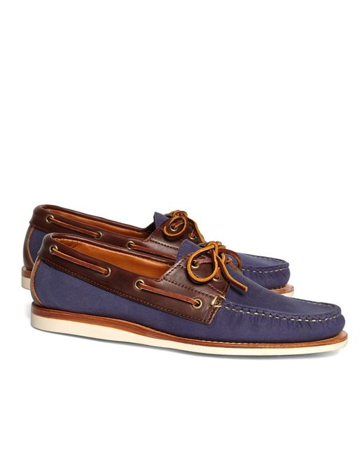 Brooks Brothers | Blue Rancourt & Co. Waxed Canvas Boat Shoes for Men | Lyst