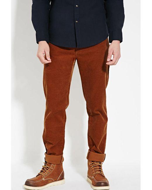 Forever 21 | Brown Slim Fit Corduroy Pants for Men | Lyst