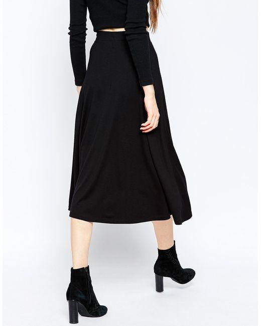 asos midi skater skirt with poppers in black lyst