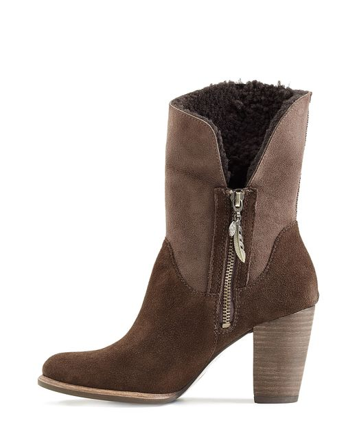 ugg charlee suede ankle boots with sheepskin brown in