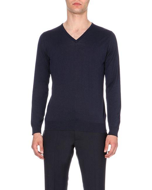 John Smedley | Blue Bampton Knitted Jumper for Men | Lyst