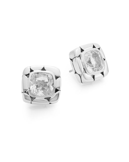 John Hardy | Metallic Kali White Topaz & Sterling Silver Square Stud Earrings | Lyst