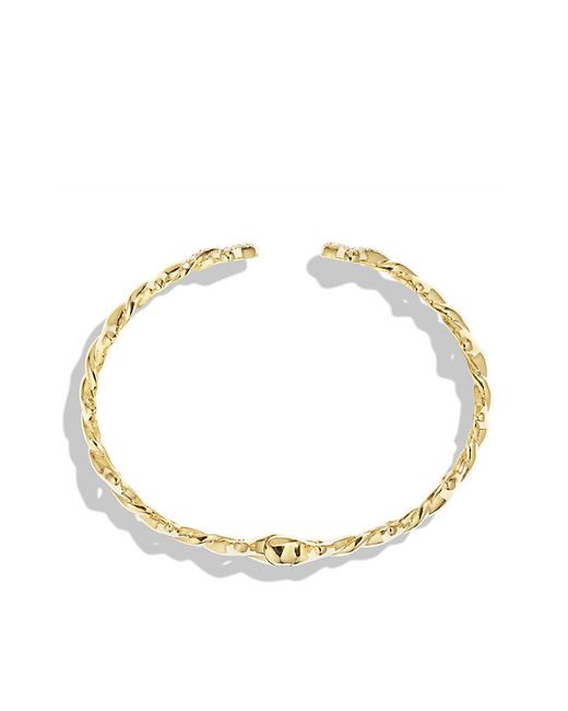 David Yurman | Metallic Venetian Quatrefoil Single-row Cuff Bracelet With Diamonds In 18k Gold | Lyst