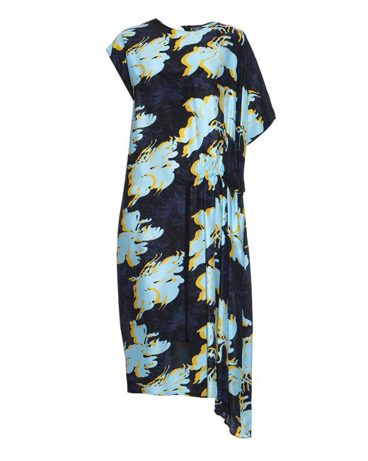 Cedric Charlier | Multicolor Floral -print Silk Dress | Lyst