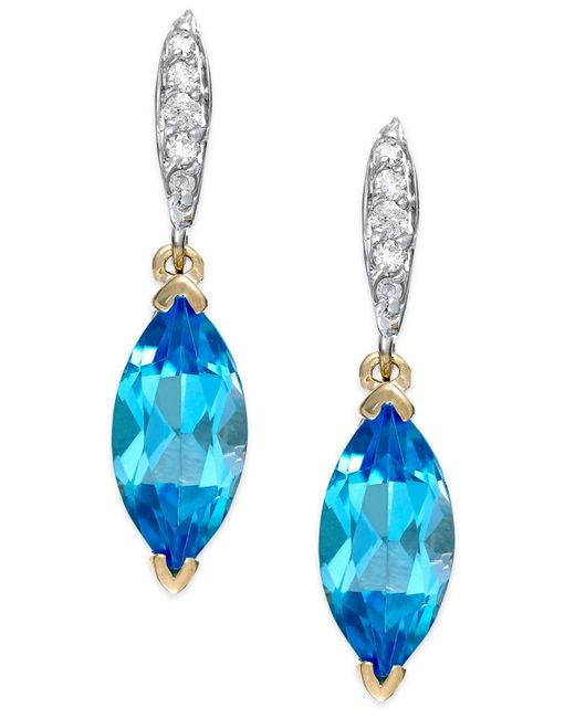 Macy's | Blue Topaz (2-9/10 Ct. T.w.) And Diamond Accent Earrings In 14k Gold | Lyst