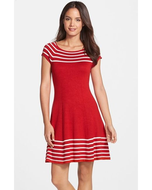 Eliza J | Stripe Knit Flared Dress | Lyst