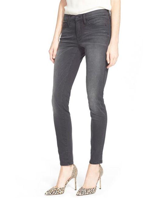 FRAME | Gray 'le Skinny' Sateen Skinny Jeans | Lyst