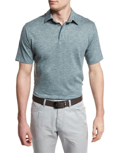 Ermenegildo zegna melange striped short sleeve polo shirt for Zegna polo shirts sale